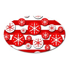 Snowflake Red And White Pattern Oval Magnet by Valentinaart