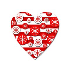 Snowflake Red And White Pattern Heart Magnet by Valentinaart