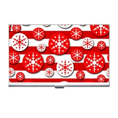 Snowflake Red And White Pattern Business Card Holders by Valentinaart