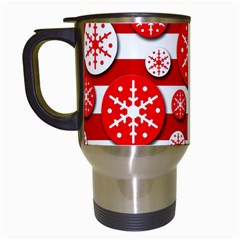 Snowflake Red And White Pattern Travel Mugs (white) by Valentinaart
