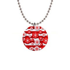 Snowflake Red And White Pattern Button Necklaces by Valentinaart