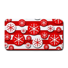 Snowflake Red And White Pattern Medium Bar Mats by Valentinaart