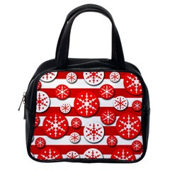Snowflake Red And White Pattern Classic Handbags (one Side) by Valentinaart