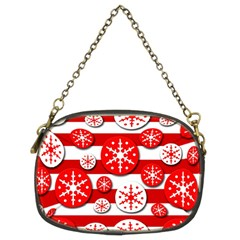 Snowflake Red And White Pattern Chain Purses (two Sides)  by Valentinaart
