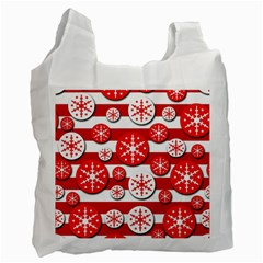 Snowflake Red And White Pattern Recycle Bag (one Side) by Valentinaart