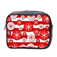 Snowflake Red And White Pattern Mini Toiletries Bag 2 Side by Valentinaart