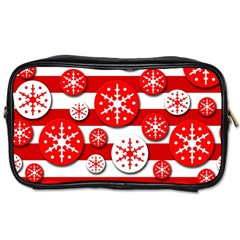 Snowflake Red And White Pattern Toiletries Bags 2 Side by Valentinaart
