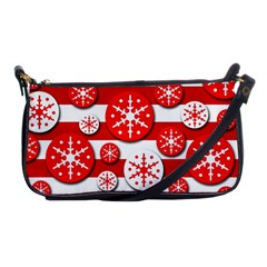 Snowflake Red And White Pattern Shoulder Clutch Bags by Valentinaart