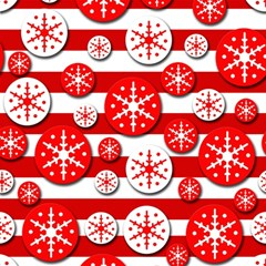 Snowflake Red And White Pattern Magic Photo Cubes by Valentinaart