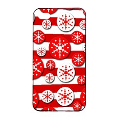 Snowflake Red And White Pattern Apple Iphone 4/4s Seamless Case (black) by Valentinaart