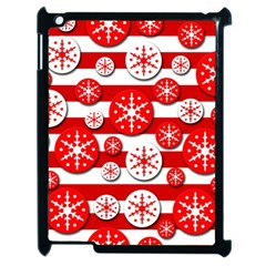 Snowflake Red And White Pattern Apple Ipad 2 Case (black)