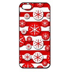 Snowflake Red And White Pattern Apple Iphone 5 Seamless Case (black) by Valentinaart