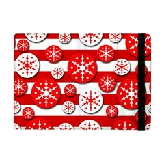 Snowflake Red And White Pattern Apple Ipad Mini Flip Case by Valentinaart
