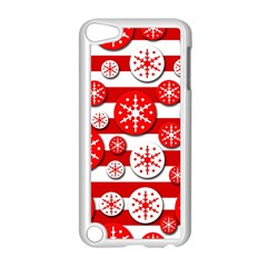 Snowflake Red And White Pattern Apple Ipod Touch 5 Case (white) by Valentinaart