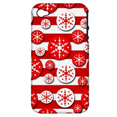Snowflake Red And White Pattern Apple Iphone 4/4s Hardshell Case (pc+silicone) by Valentinaart
