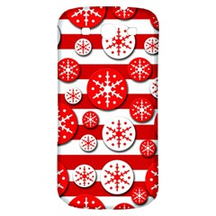 Snowflake Red And White Pattern Samsung Galaxy S3 S Iii Classic Hardshell Back Case by Valentinaart