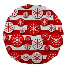 Snowflake Red And White Pattern Large 18  Premium Round Cushions by Valentinaart