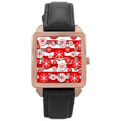Snowflake Red And White Pattern Rose Gold Leather Watch  by Valentinaart