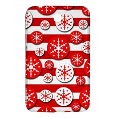 Snowflake Red And White Pattern Samsung Galaxy Tab 3 (7 ) P3200 Hardshell Case  by Valentinaart