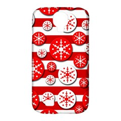 Snowflake Red And White Pattern Samsung Galaxy S4 Classic Hardshell Case (pc+silicone) by Valentinaart