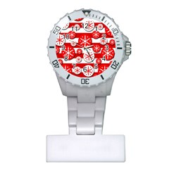 Snowflake Red And White Pattern Plastic Nurses Watch by Valentinaart