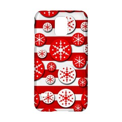 Snowflake Red And White Pattern Samsung Galaxy S5 Hardshell Case  by Valentinaart