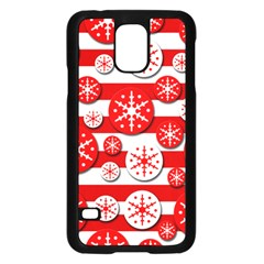 Snowflake Red And White Pattern Samsung Galaxy S5 Case (black) by Valentinaart