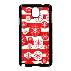 Snowflake Red And White Pattern Samsung Galaxy Note 3 Neo Hardshell Case (black) by Valentinaart