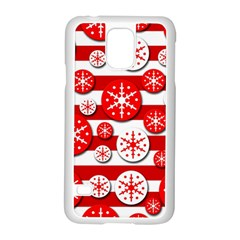 Snowflake Red And White Pattern Samsung Galaxy S5 Case (white) by Valentinaart