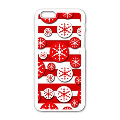 Snowflake Red And White Pattern Apple Iphone 6/6s White Enamel Case by Valentinaart