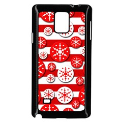 Snowflake Red And White Pattern Samsung Galaxy Note 4 Case (black) by Valentinaart