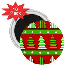 Christmas Trees Pattern 2 25  Magnets (10 Pack)  by Valentinaart