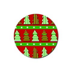 Christmas Trees Pattern Rubber Round Coaster (4 Pack)  by Valentinaart