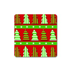 Christmas Trees Pattern Square Magnet by Valentinaart