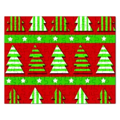 Christmas Trees Pattern Rectangular Jigsaw Puzzl by Valentinaart