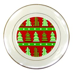 Christmas Trees Pattern Porcelain Plates by Valentinaart