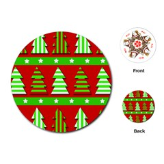 Christmas Trees Pattern Playing Cards (round)  by Valentinaart