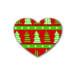 Christmas Trees Pattern Rubber Coaster (heart)  by Valentinaart