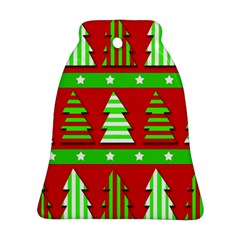 Christmas Trees Pattern Bell Ornament (2 Sides) by Valentinaart