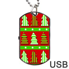Christmas Trees Pattern Dog Tag Usb Flash (one Side) by Valentinaart