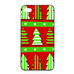 Christmas Trees Pattern Apple Iphone 4/4s Seamless Case (black) by Valentinaart