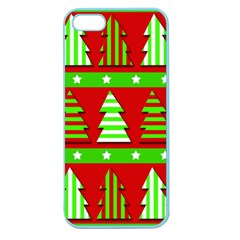 Christmas Trees Pattern Apple Seamless Iphone 5 Case (color) by Valentinaart