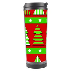 Christmas Trees Pattern Travel Tumbler by Valentinaart