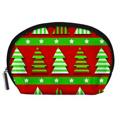 Christmas Trees Pattern Accessory Pouches (large)  by Valentinaart