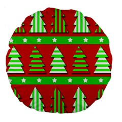 Christmas Trees Pattern Large 18  Premium Flano Round Cushions by Valentinaart