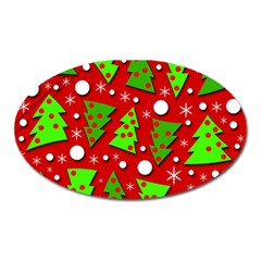 Twisted Christmas Trees Oval Magnet by Valentinaart