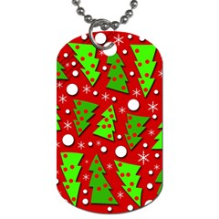 Twisted Christmas Trees Dog Tag (one Side) by Valentinaart
