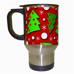 Twisted Christmas Trees Travel Mugs (white) by Valentinaart
