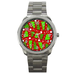 Twisted Christmas Trees Sport Metal Watch by Valentinaart