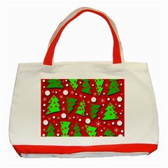 Twisted Christmas Trees Classic Tote Bag (red) by Valentinaart